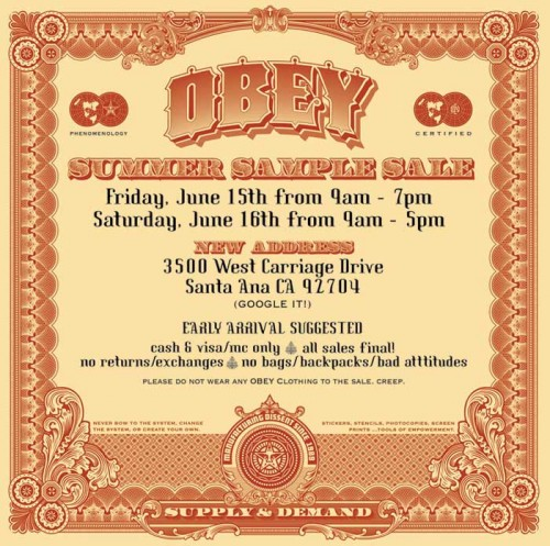 OBEY CLOTHING SAMPLE SALE - Obey Giant
