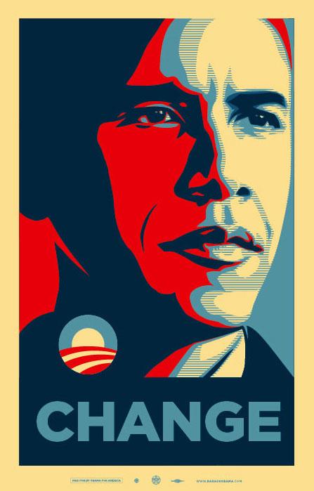 Change, uno dei manifesti dedicati ad Obama, by Shepard Fairey