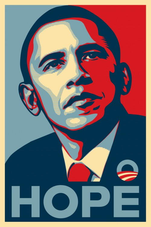 Red White Blue and Sepia iconic Obama Hope poster