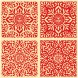 Japanese Fabric Pattern Set Red