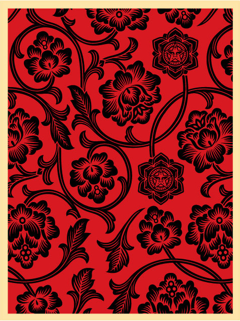 Flower Vine (Blk/Red) | OBEY GIANT