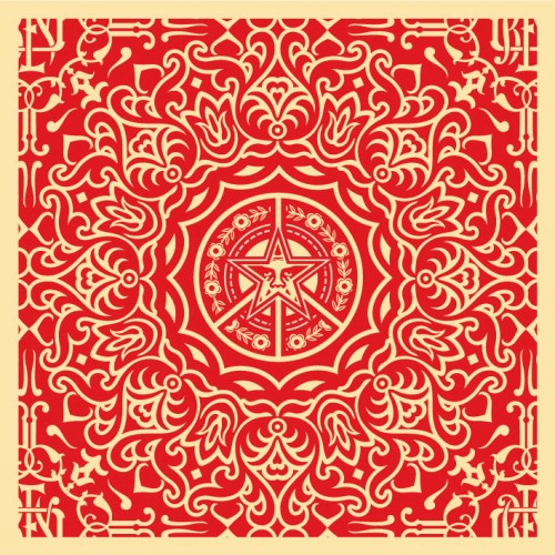 Obey-ornate-pattern-18x18red