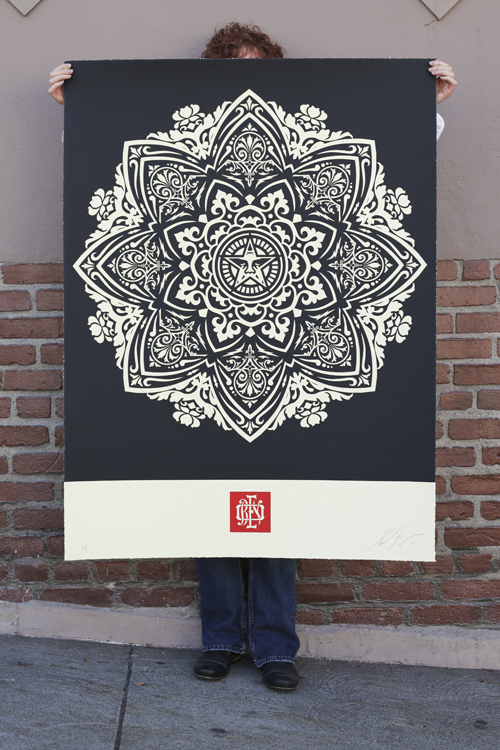 mandala ornament 1 black large format obey giant. Black Bedroom Furniture Sets. Home Design Ideas