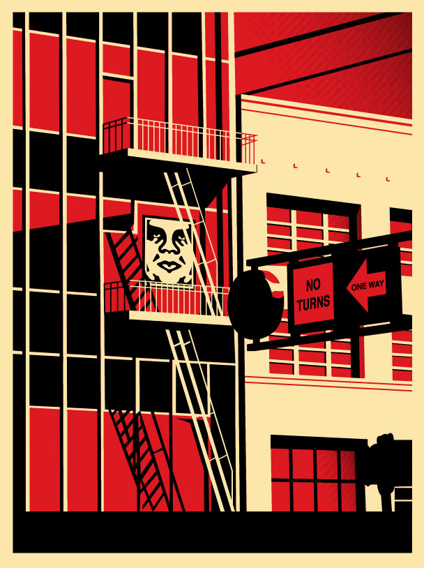 sf fire escape print obey giant. Black Bedroom Furniture Sets. Home Design Ideas