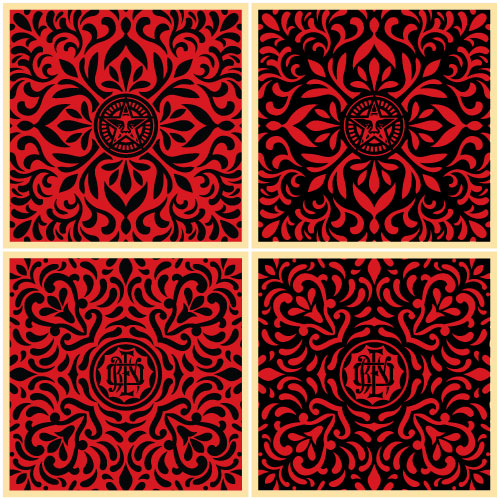 Japanese Fabric Pattern Set Red Blk Obey Giant
