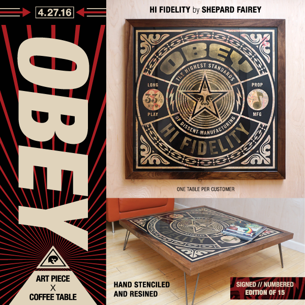 Shepard Fairey Prints On Wood Coffee Table Obey Giant