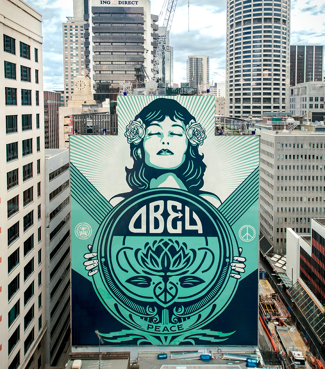 peace waratah mural in sydney obey giant. Black Bedroom Furniture Sets. Home Design Ideas