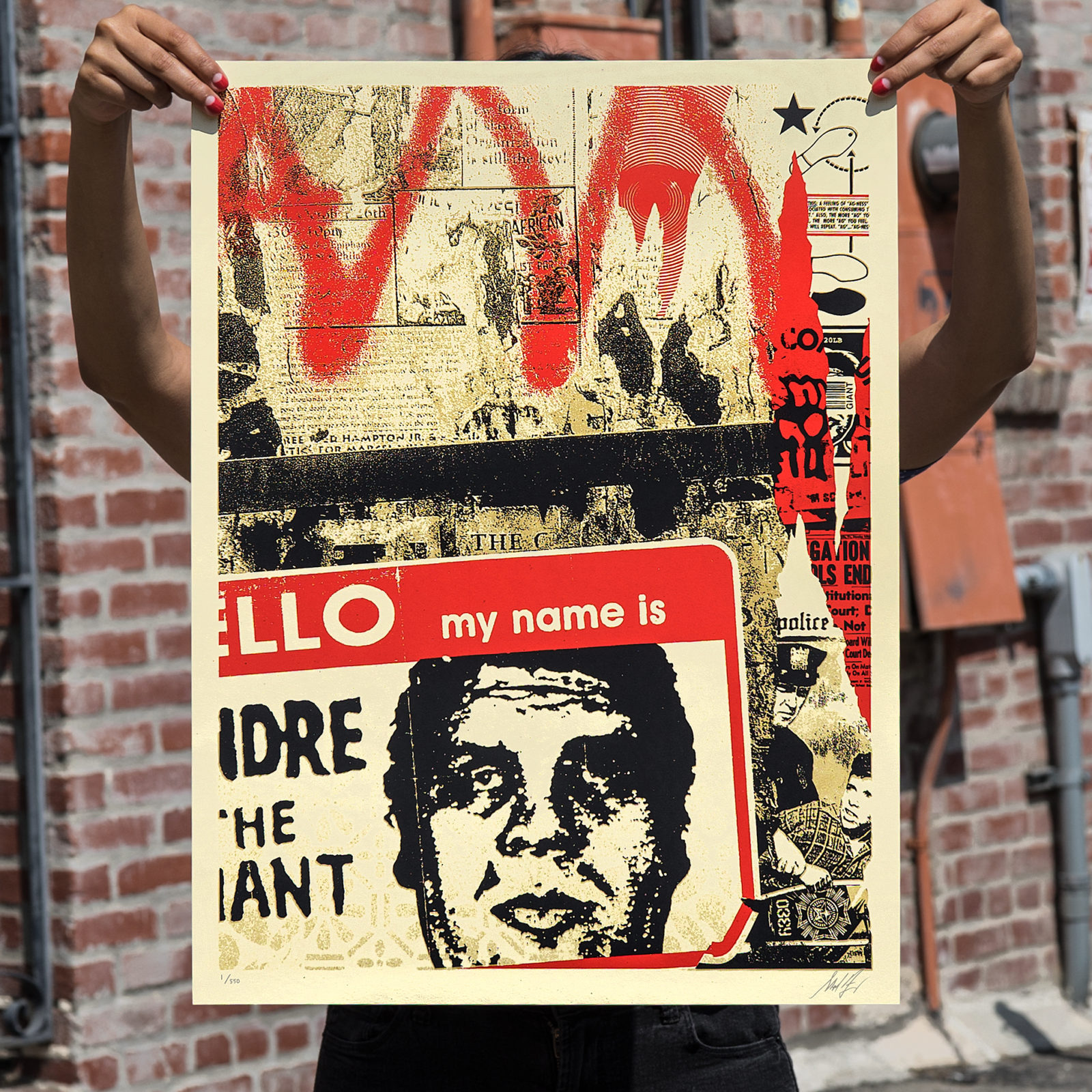 Hello my name is screenprint on cream speckletone paper 18 x 24 inches signed by shepard fairey numbered edition of 550 45